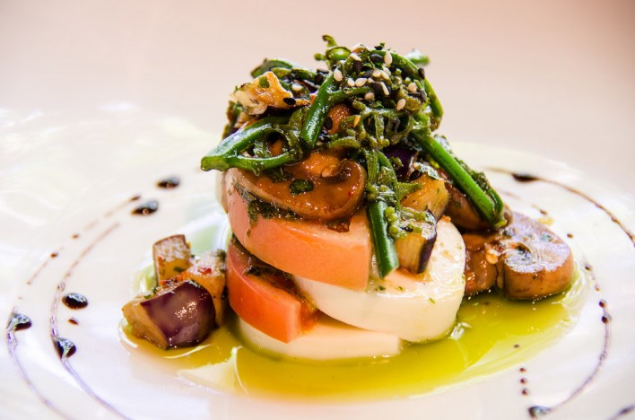 Tomato mozzarella caprese, pohole fern mushroom salad, truffle & balsamic