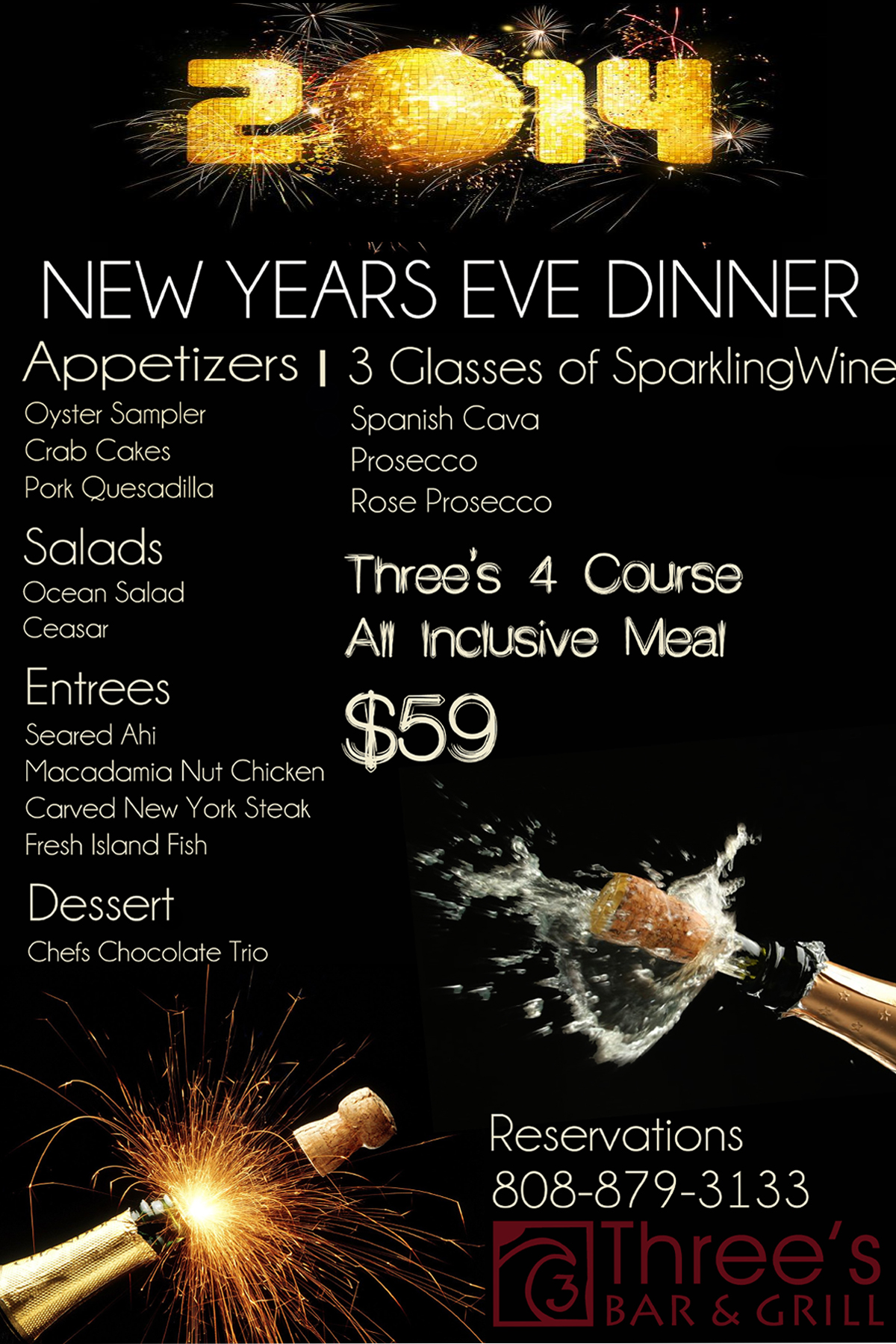 new years eve dinner menu